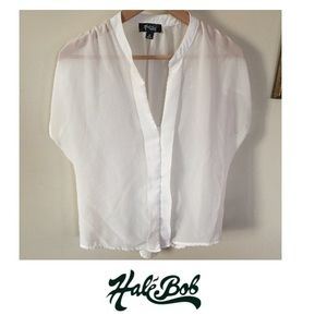 Hale Bob Sheer Dolman Sleeve White Blouse